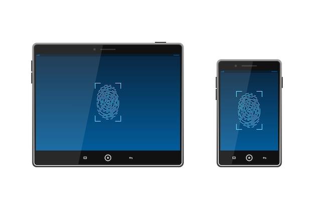 Device unlocked via fingerprint   illustration