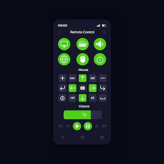 Device virtual control from smartphone interface vector template
