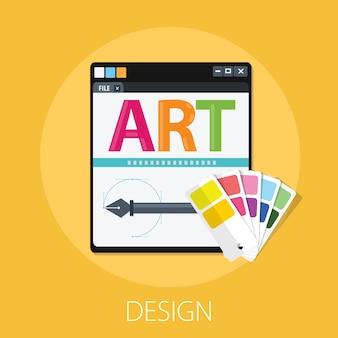 Устройство с художественным словом и пером для дизайна