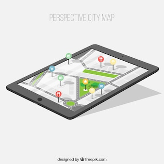 Device with city map in perspective