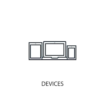 장치 개념 라인 아이콘입니다. 간단한 요소 그림입니다. 장치 개념 개요 기호 디자인입니다. 웹 및 모바일 ui/ux에 사용할 수 있습니다.