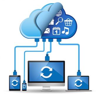 Устройства, подключенные к облаку. концепция облачных вычислений.