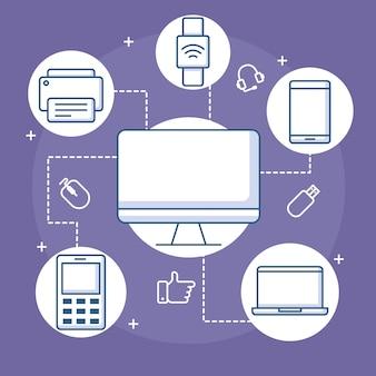 デバイス接続コンピュータースマートウォッチモバイルプリンターとラップトップイラスト線スタイル