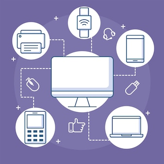 Devices connection computer smart watch mobile printer and laptop  illustration line style