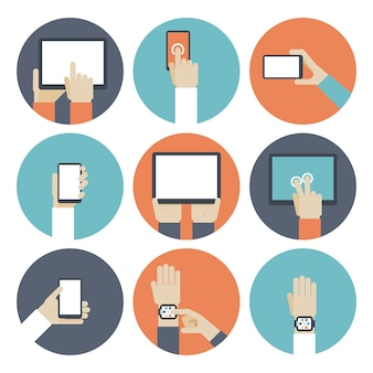 Devices in hand, using touch screen. smart watch, ebook and monitor, touchpad and gadget, smartphone and tablet.
