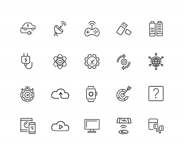 Devices icons. set of twenty line icons. networking, cloud storage, wireless charger.