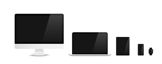 リアルなトレンディなデザインのデバイス。空の画面でコンピューターノートパソコンタブレットとスマートフォンのセット