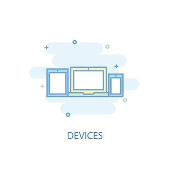 Devices line concept. simple line icon, colored illustration. devices symbol flat design. can be used for ui/ux
