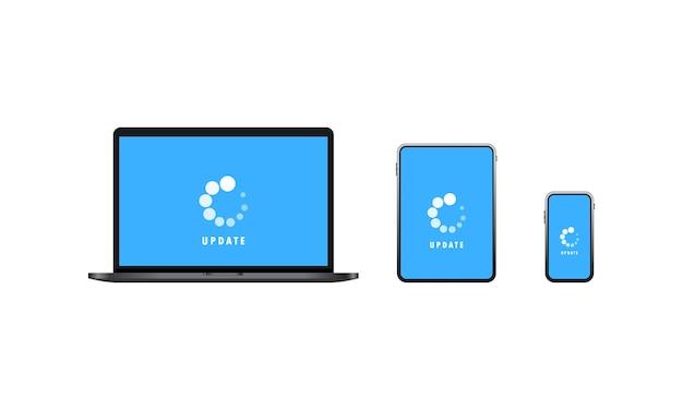デバイス更新アイコン。ラップトップ、タブレット、スマートフォンのソフトウェアの更新またはデータのダウンロード