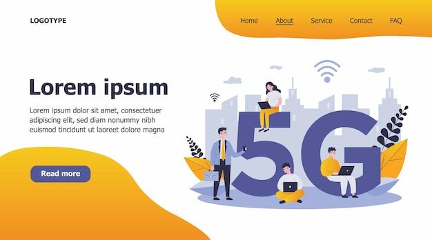 Devices users enjoying 5g city internet illustration