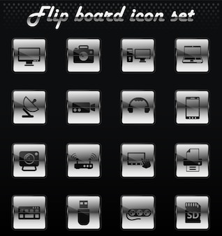 Devices vector flip mechanical icons for user interface design