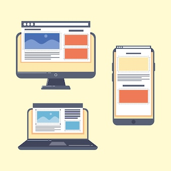 Devices with webpages templates icons