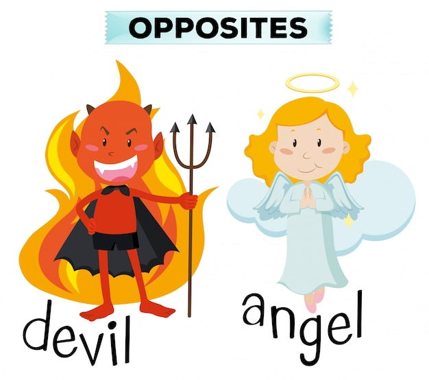Devil and angel characters on white illustration
