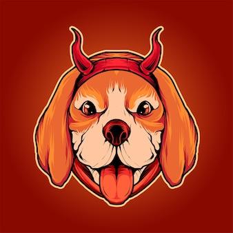 Иллюстрация собаки дьявола бигля премиум векторы, идеально подходит для футболки