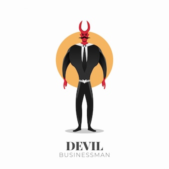 Devil businessman character with horns. half-bull businessman