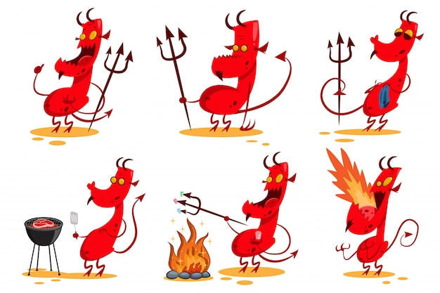 Devil cartoon character set.