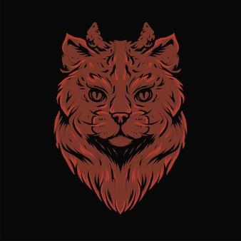 Голова кота дьявола с иллюстрацией вектора рога в современном стиле. изолированный подходит для футболок, принтов, логотипов и другой одежды