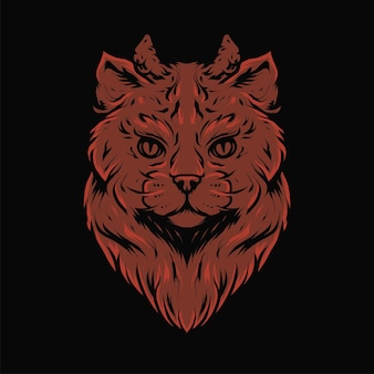 Devil cat's head with horn vector illustration in modern style. isolated suitable for t-shirts, prints, logos and other apparel products