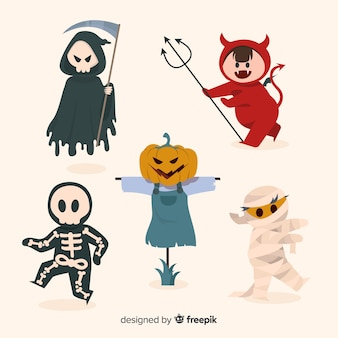Devil characters hand drawn halloween costumes