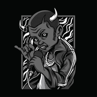 悪魔の死の白黒イラスト