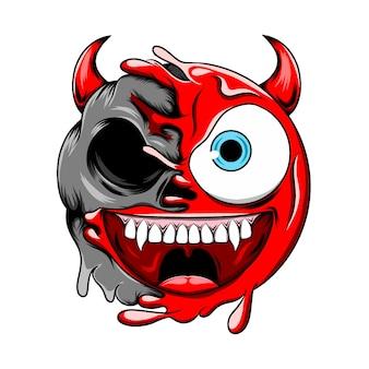 悪魔の死の頭蓋骨が悪い邪悪な赤い悪魔の絵文字に変わる