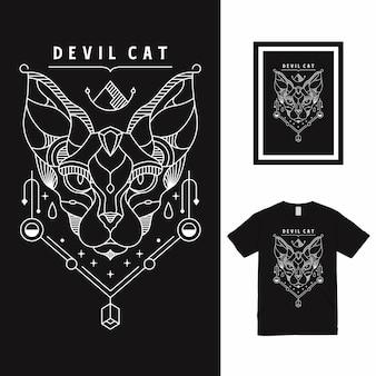 Дизайн футболки devil egyptian cat line art