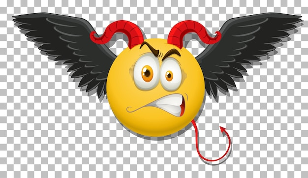 Devil emoticon with facial expression