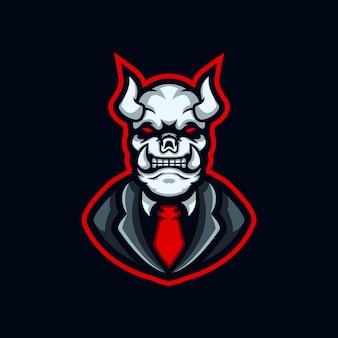 Дьявол киберспорт дизайн логотипа шаблон