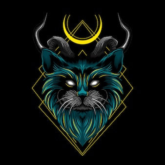 Devil evil cat horn vector illustration