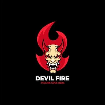 Devil fire logo design template illustration