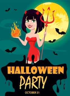 Devil girl for halloween party invitation