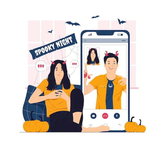 Devil girl having video call with friend on halloween concept illustration