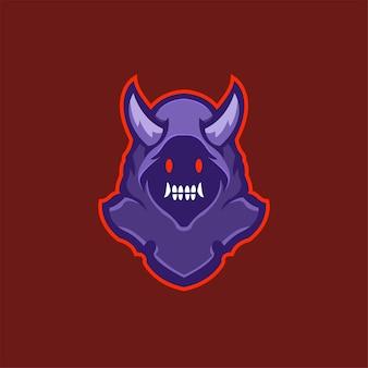 Голова дьявола мультяшный логотип шаблон иллюстрации киберспорт логотип игры премиум векторы
