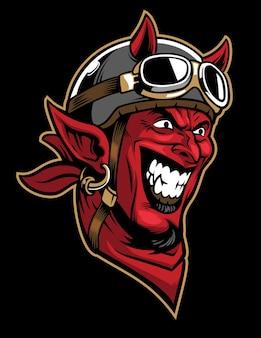 Devil head rider wearing an old helmet