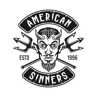 Голова дьявола с двумя скрещенными трезубцами байкерская эмблема