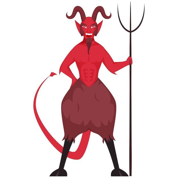 白い背景のイラストにトライデントを保持している悪魔 Premiumベクター