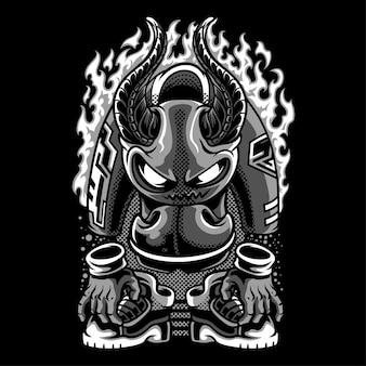 Devil inside black and white illustration