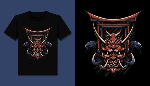 T 셔츠 디자인을위한 악마 일본 머리