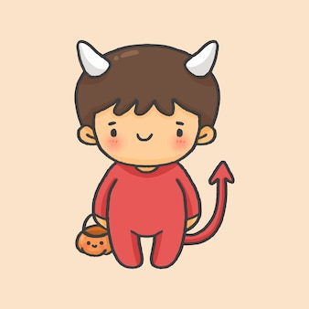 악마 아이 의상 할로윈 손으로 그린 만화 스타일 벡터