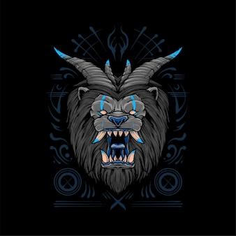 悪魔ライオンtシャツイラストプレミアムベクトル