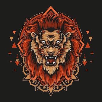 Devil lion with angry face and mandala geometry illustration style in black background.