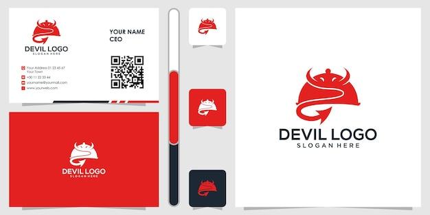 名刺デザインベクトルプレミアムと悪魔のロゴ