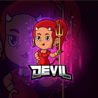 悪魔のマスコットeスポーツカラフルなロゴ
