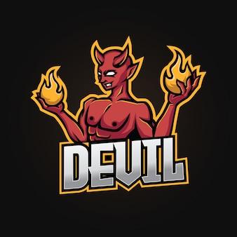 Дьявол талисман киберспорт дизайн логотипа