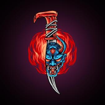 Devil mask on knife