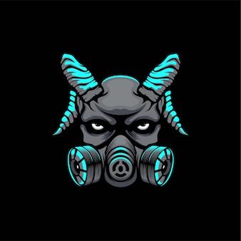 Devil mask logo design illustration