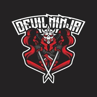 Шаблон логотипа devil ninja esport