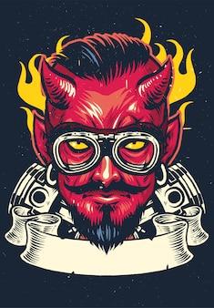 Devil rider in vintage style