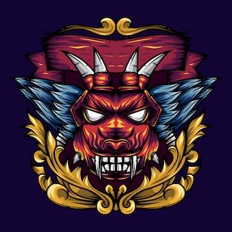 Devil's head geometry ornamental is an illustration of a devil's head with sharp fangs