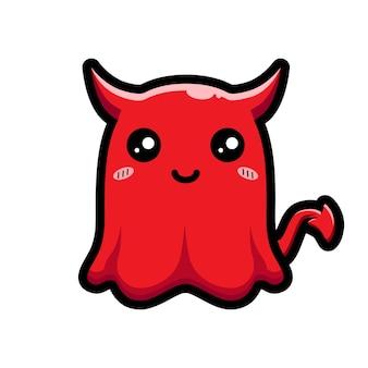 악마 모양의 귀여운 유령 디자인